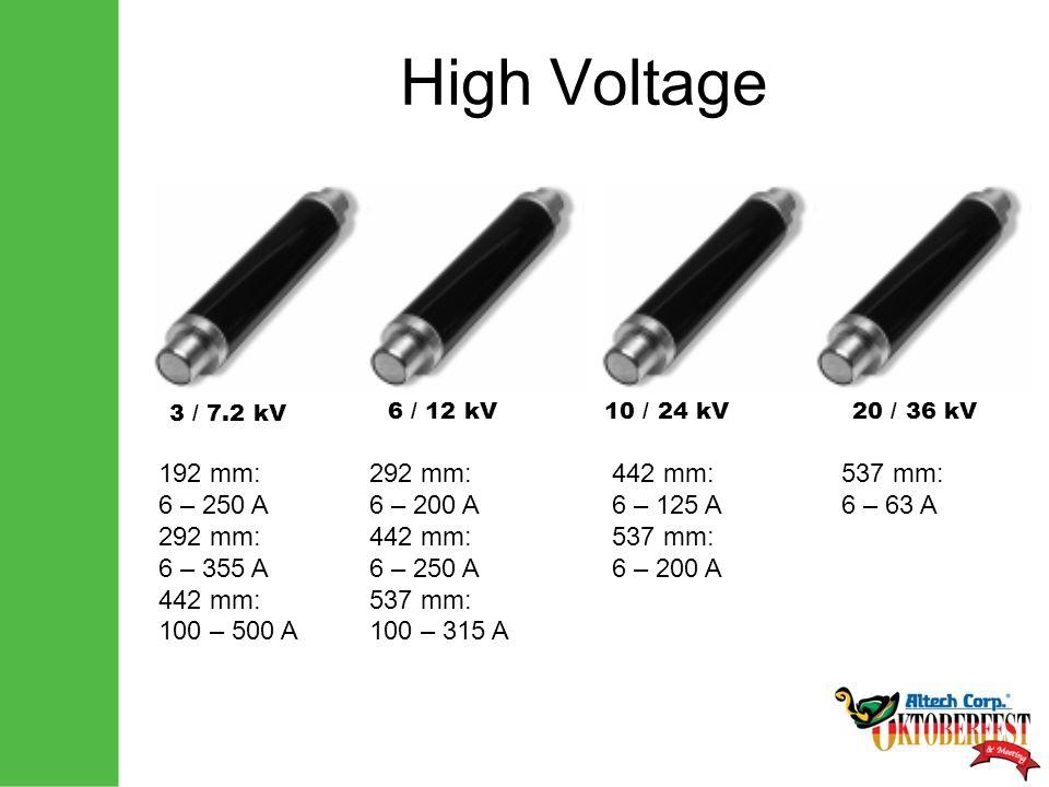 High Voltage 3 / 7.2 kV 6 / 12 kV10 / 24 kV20 / 36 kV 192 mm: 6 – 250 A 292 mm: 6 – 355 A 442 mm: 100 – 500 A 292 mm: 6 – 200 A 442 mm: 6 – 250 A 537