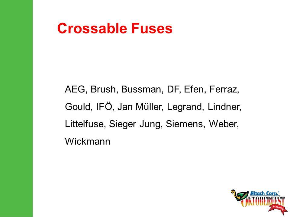 Crossable Fuses AEG, Brush, Bussman, DF, Efen, Ferraz, Gould, IFÖ, Jan Müller, Legrand, Lindner, Littelfuse, Sieger Jung, Siemens, Weber, Wickmann