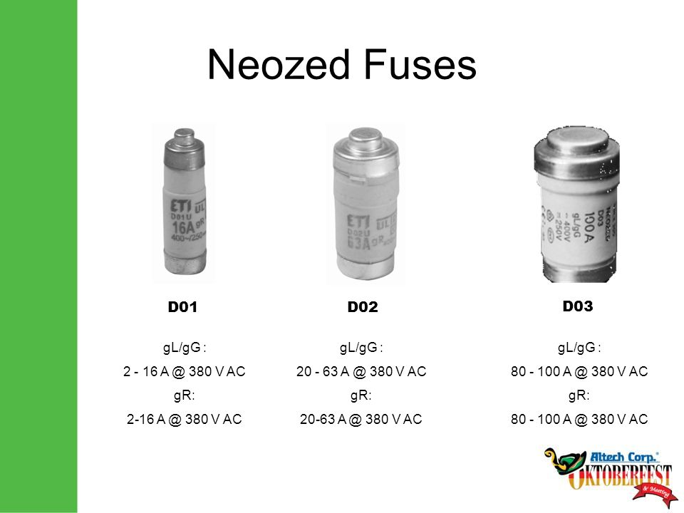 Neozed Fuses D01D02 D03 gL/gG : 2 - 16 A @ 380 V AC gR: 2-16 A @ 380 V AC gL/gG : 20 - 63 A @ 380 V AC gR: 20-63 A @ 380 V AC gL/gG : 80 - 100 A @ 380