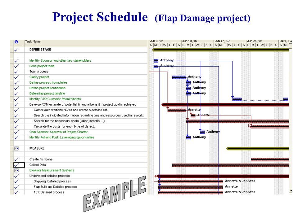 43 Project Schedule (Flap Damage project)