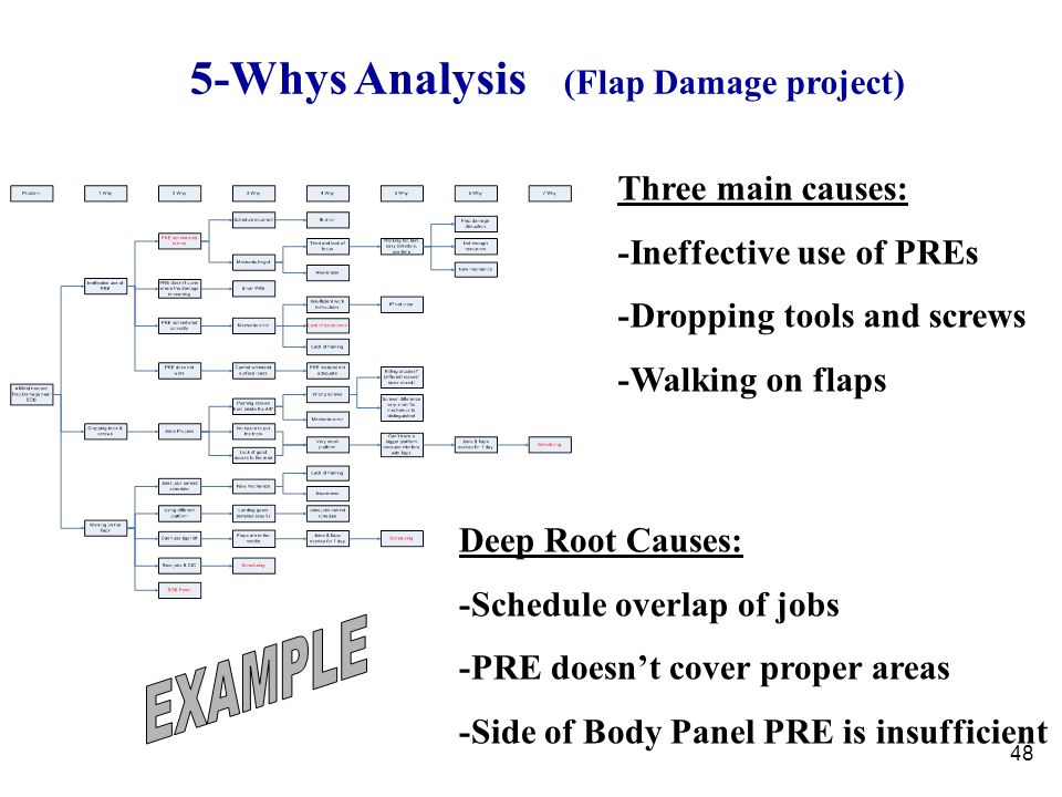 48 Three main causes: -Ineffective use of PREs -Dropping tools and screws -Walking on flaps Deep Root Causes: -Schedule overlap of jobs -PRE doesn't c