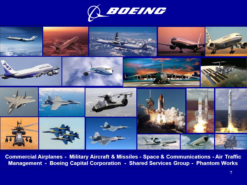 7 Commercial Airplanes - Military Aircraft & Missiles - Space & Communications - Air Traffic Management - Boeing Capital Corporation - Shared Services