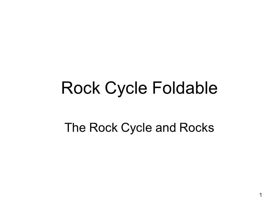 1 Rock Cycle Foldable The Rock Cycle and Rocks