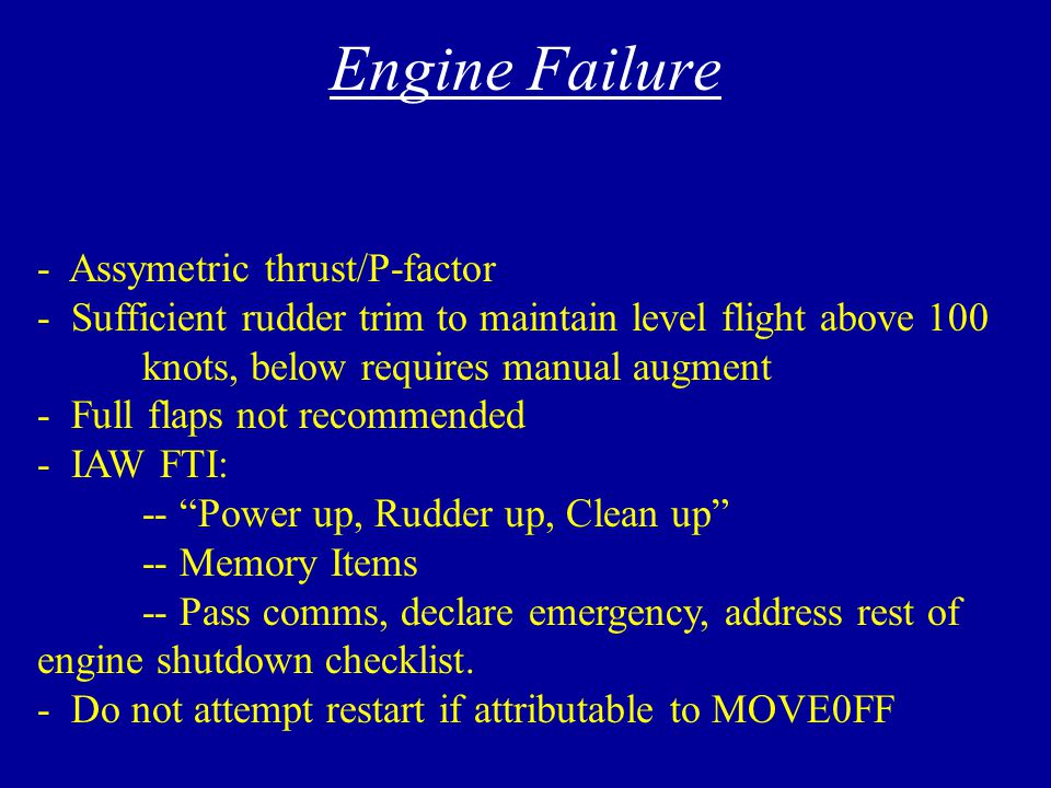 Engine Failure Emergency Shutdown Checklist Jammed Power Lever Airstarts Single-Engine Crossfeed