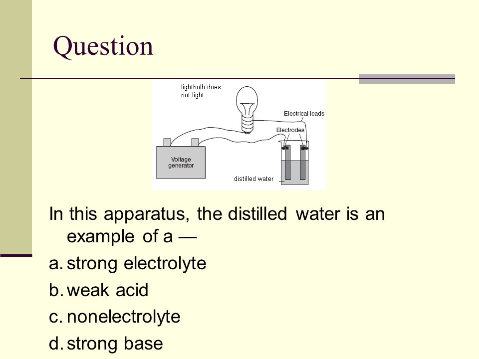 Question In this apparatus, the distilled water is an example of a — a.strong electrolyte b.weak acid c.nonelectrolyte d.strong base