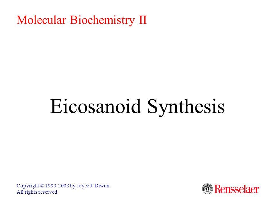 Eicosanoid Synthesis Copyright © 1999-2008 by Joyce J. Diwan. All rights reserved. Molecular Biochemistry II