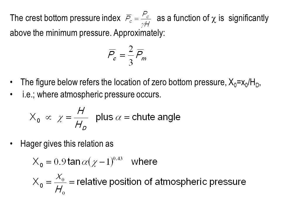 The crest bottom pressure index as a function of  is significantly above the minimum pressure. Approximately: The figure below refers the location of