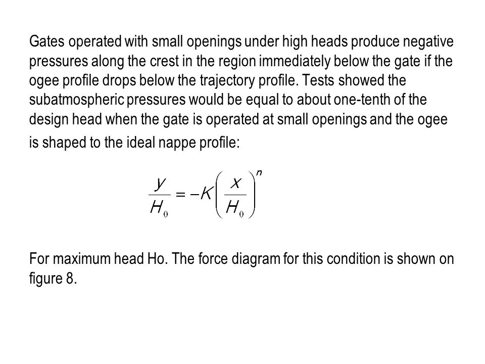 Gates operated with small openings under high heads produce negative pressures along the crest in the region immediately below the gate if the ogee pr