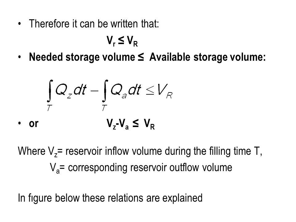 Therefore it can be written that: V r ≤ V R Needed storage volume ≤ Available storage volume: or V z -V a ≤ V R Where V z = reservoir inflow volume du