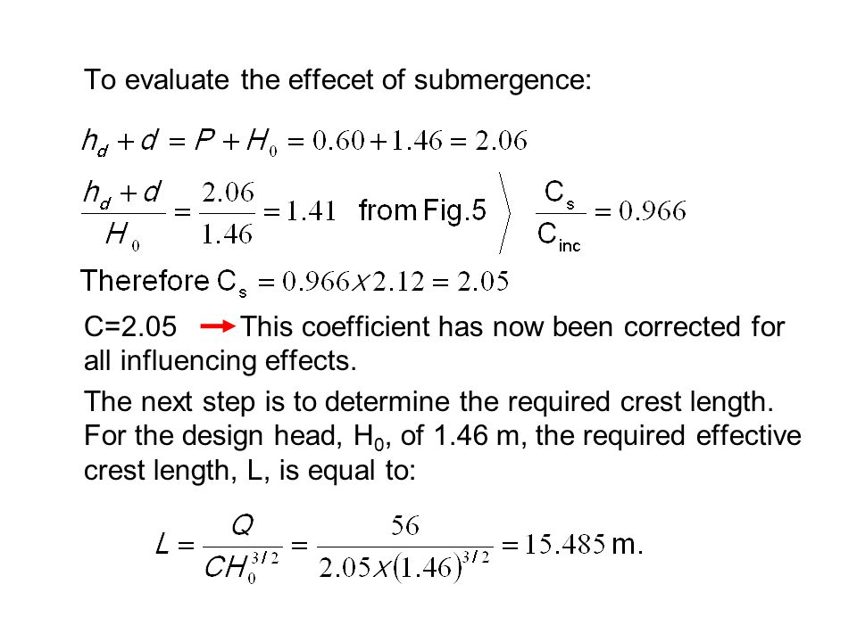 To evaluate the effecet of submergence: C=2.05 This coefficient has now been corrected for all influencing effects. The next step is to determine the