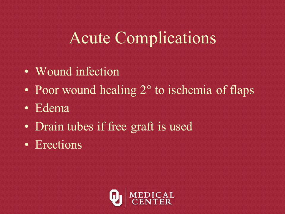 Acute Complications Wound infection Poor wound healing 2  to ischemia of flaps Edema Drain tubes if free graft is used Erections