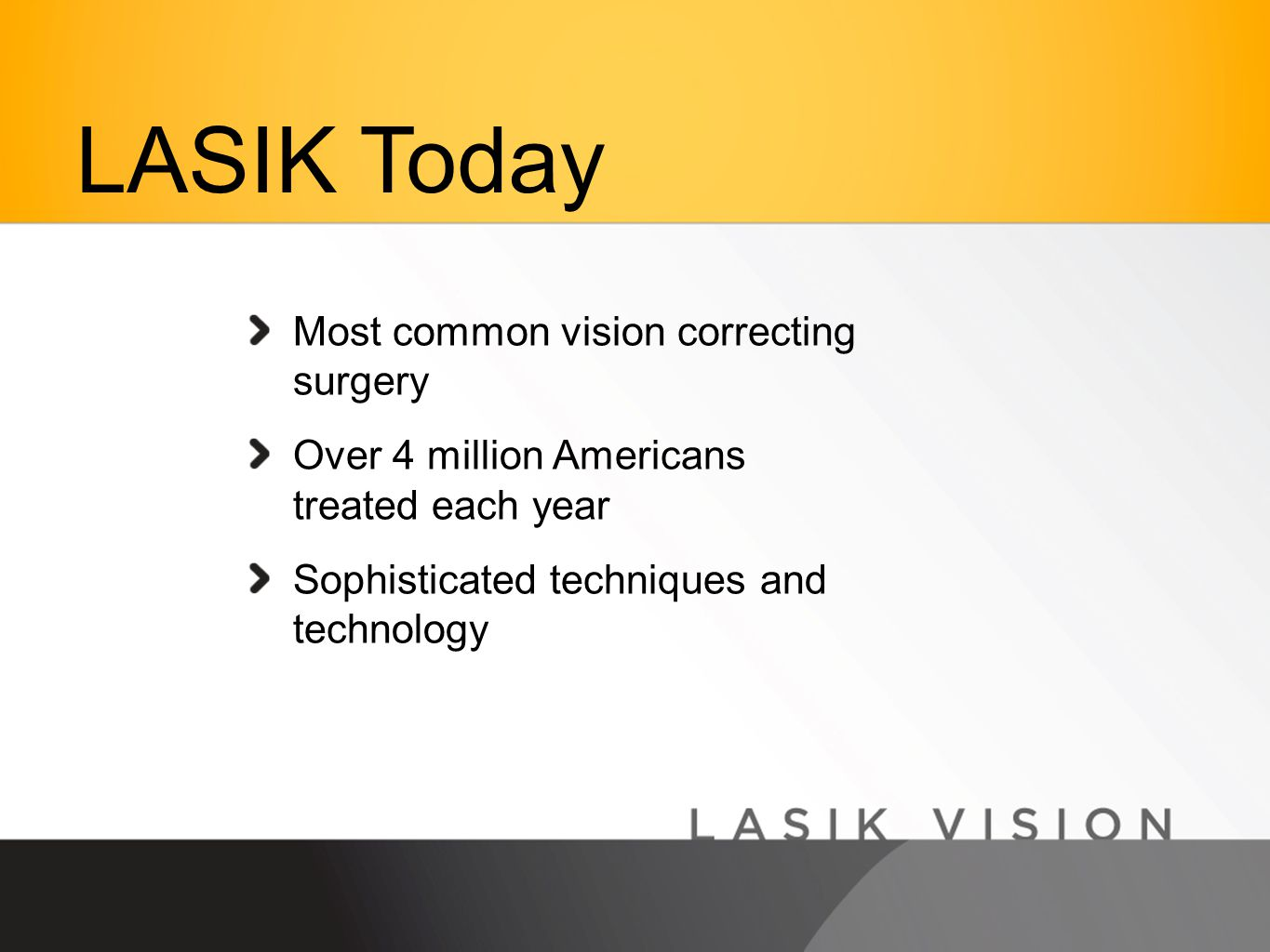 Most common vision correcting surgery Over 4 million Americans treated each year Sophisticated techniques and technology LASIK Today