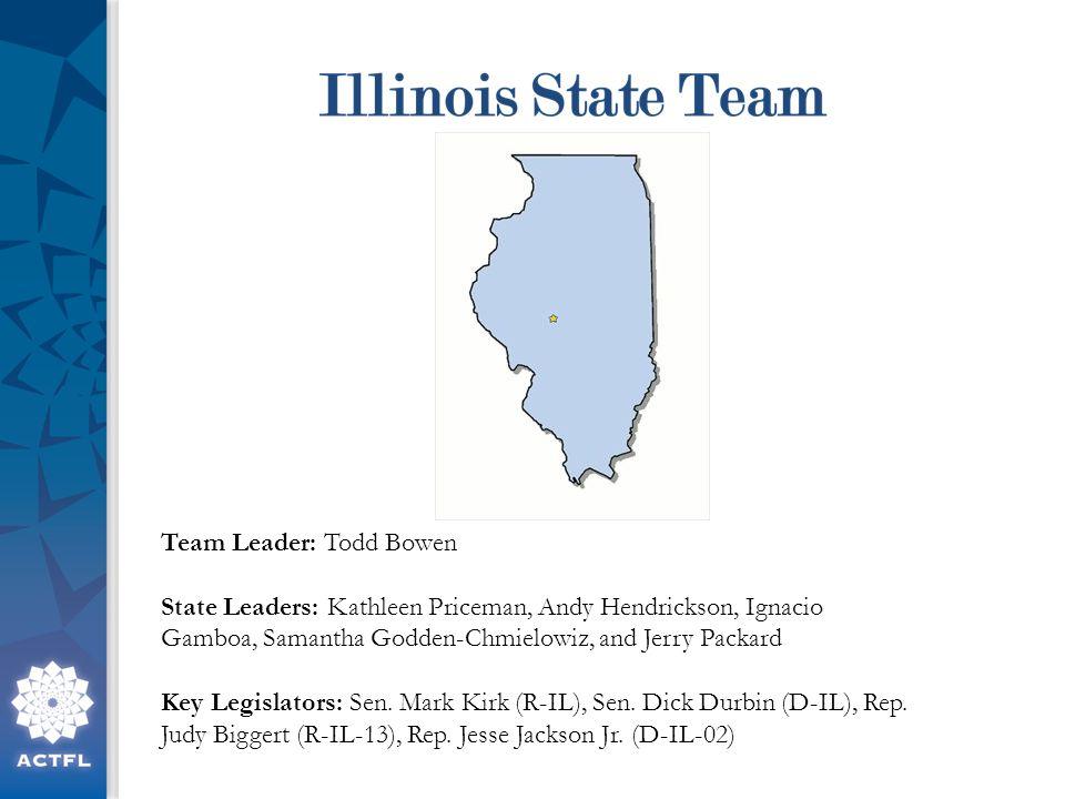 Team Leader: Todd Bowen State Leaders: Kathleen Priceman, Andy Hendrickson, Ignacio Gamboa, Samantha Godden-Chmielowiz, and Jerry Packard Key Legislators: Sen.