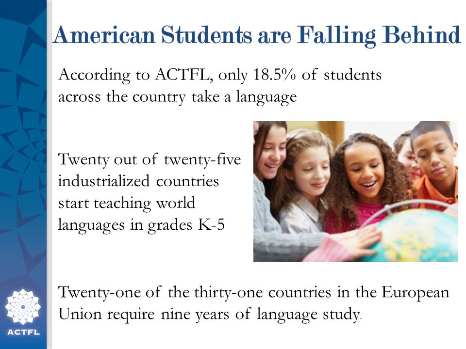 According to ACTFL, only 18.5% of students across the country take a language Twenty out of twenty-five industrialized countries start teaching world languages in grades K-5 Twenty-one of the thirty-one countries in the European Union require nine years of language study.