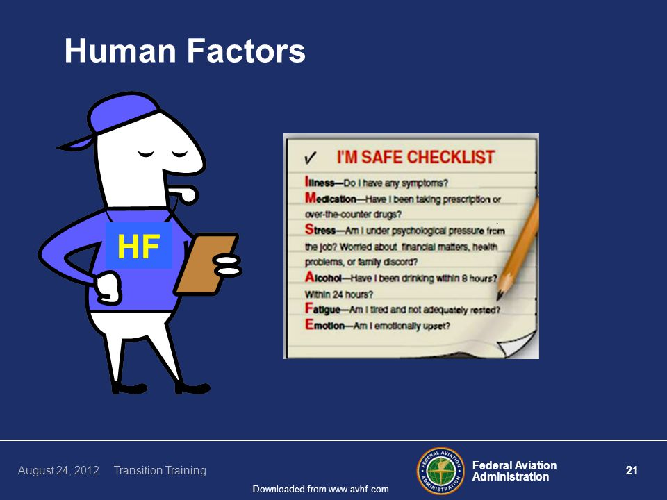 Federal Aviation Administration 21 August 24, 2012 Transition Training Downloaded from www.avhf.com Human Factors HF