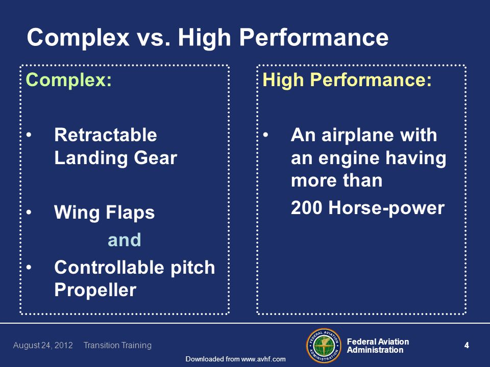 Federal Aviation Administration 15 August 24, 2012 Transition Training Downloaded from www.avhf.com Structure – Airspeed Limitations