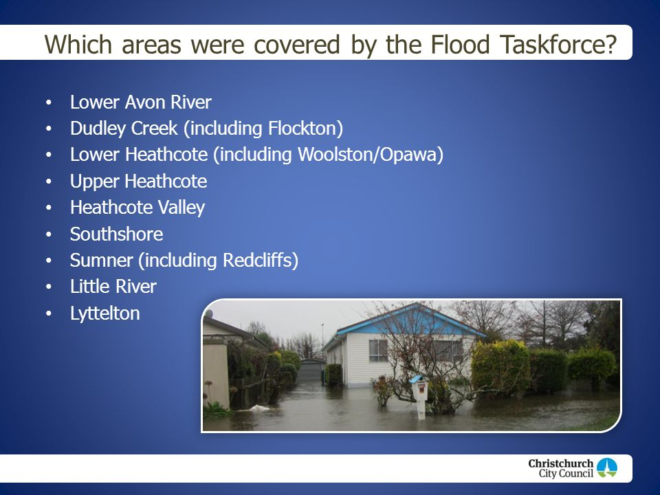 Which areas were covered by the Flood Taskforce.