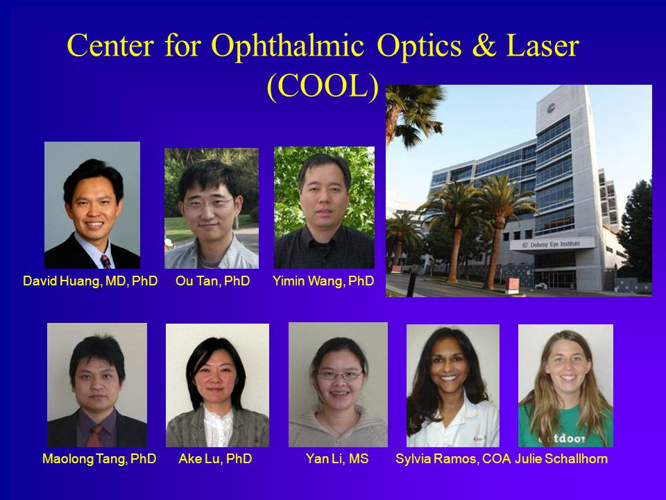 Center for Ophthalmic Optics & Laser (COOL) David Huang, MD, PhD Maolong Tang, PhDYan Li, MS Ou Tan, PhD Sylvia Ramos, COA Yimin Wang, PhD Ake Lu, PhDJulie Schallhorn
