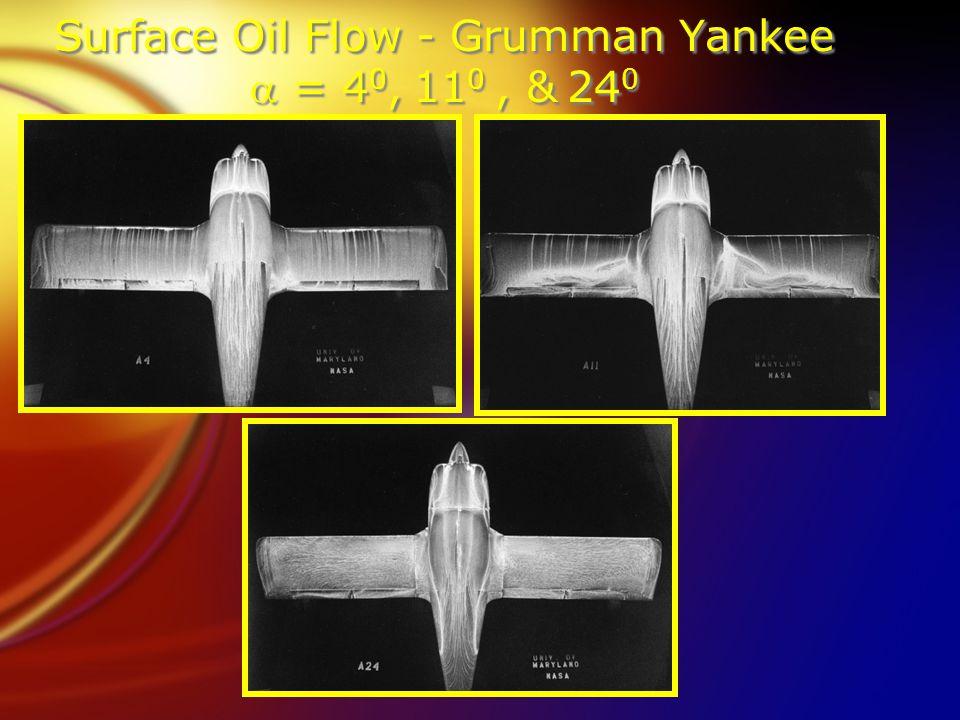 Surface Oil Flow - Grumman Yankee  = 4 0, 11 0, & 24 0