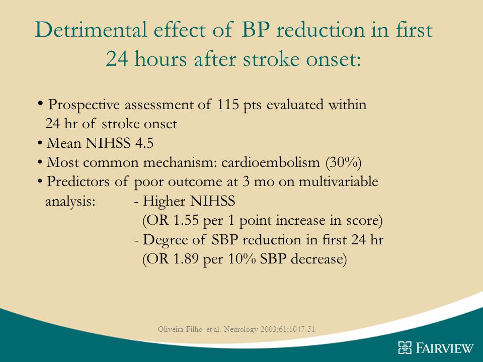 Detrimental effect of BP reduction in first 24 hours after stroke onset: Prospective assessment of 115 pts evaluated within 24 hr of stroke onset Mean NIHSS 4.5 Most common mechanism: cardioembolism (30%) Predictors of poor outcome at 3 mo on multivariable analysis: - Higher NIHSS (OR 1.55 per 1 point increase in score) - Degree of SBP reduction in first 24 hr (OR 1.89 per 10% SBP decrease) Oliveira-Filho et al.