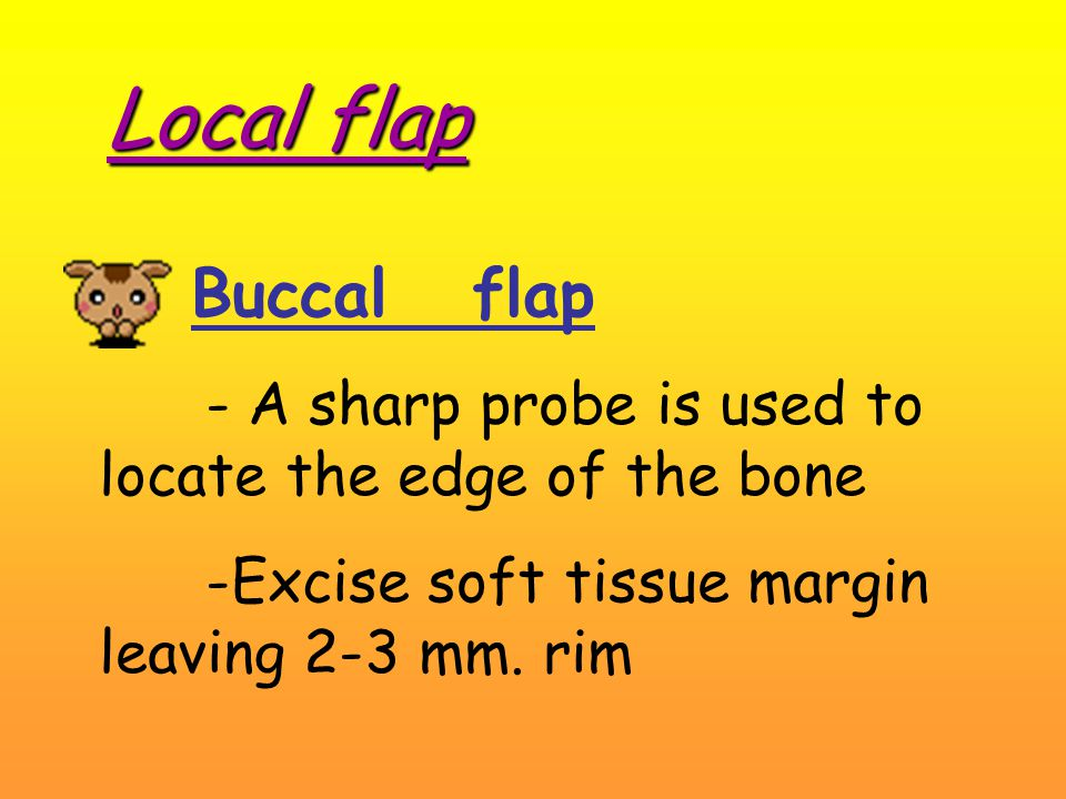 Local flap Buccal flap - A sharp probe is used to locate the edge of the bone -Excise soft tissue margin leaving 2-3 mm.
