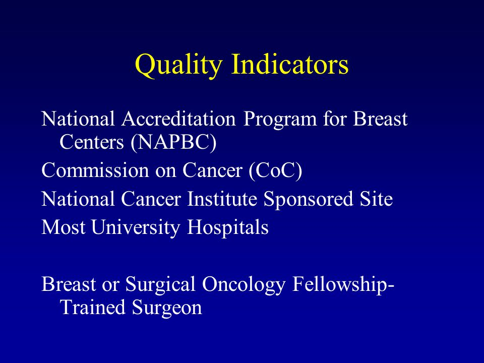 Quality Indicators National Accreditation Program for Breast Centers (NAPBC) Commission on Cancer (CoC) National Cancer Institute Sponsored Site Most