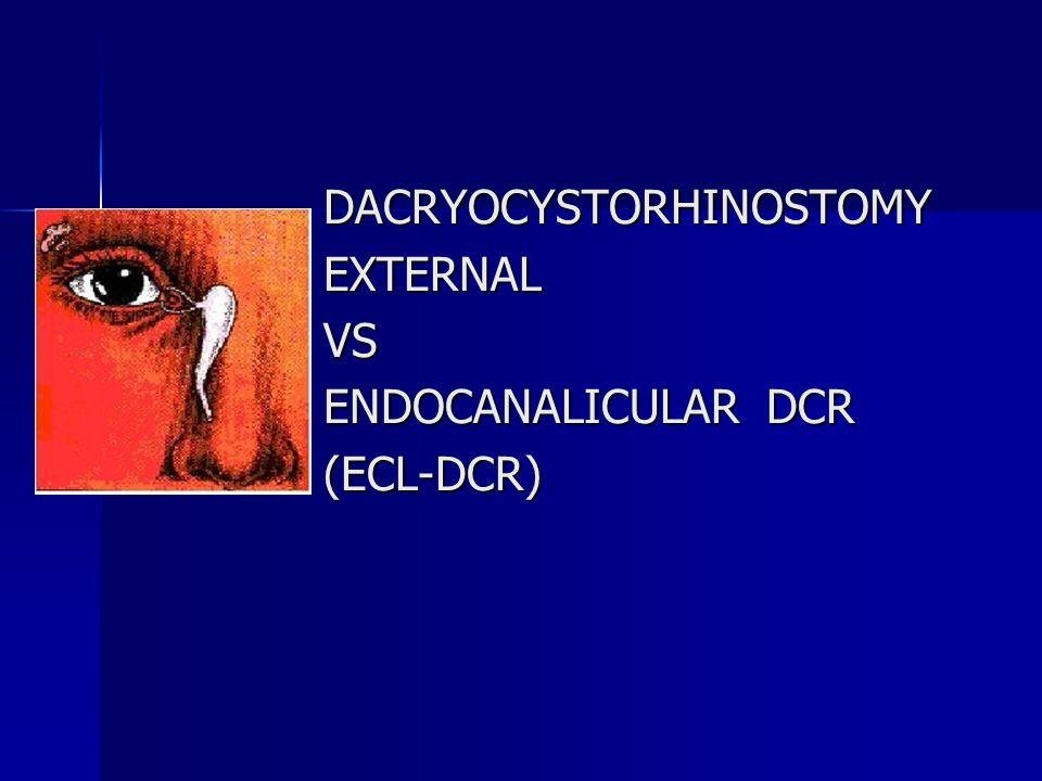 Laser Procedures in DCR Advantage over Surgical Approach- Advantage over Surgical Approach- -Cutaneous Scarring is eliminated.