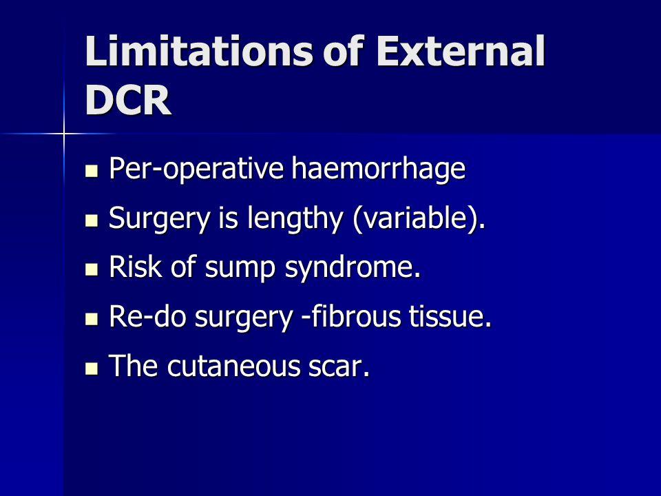 Limitations of External DCR Per-operative haemorrhage Per-operative haemorrhage Surgery is lengthy (variable). Surgery is lengthy (variable). Risk of