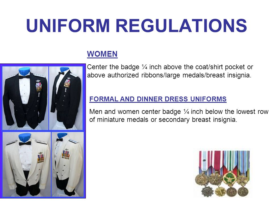 UNIFORM REGULATIONS CORRECT WEAR OF IDENDIFICATION BADGES MEN: On pocket with flaps, center badge between the lower point of the flap and bottom of the pocket, between the sides.
