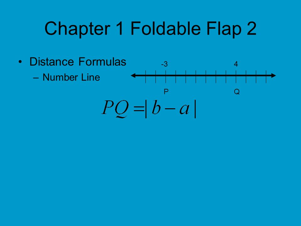 Chapter 1 Foldable Flap 2 Distance Formulas Cont… –Coordinate Plane The distance d between two points with coordinates and