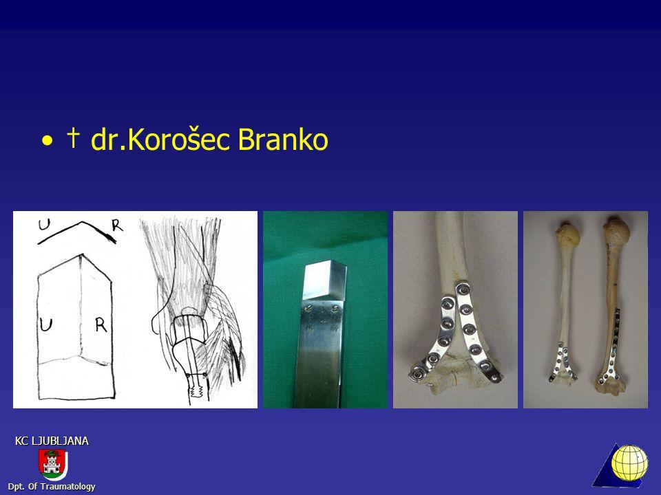 Dpt. Of Traumatology KC LJUBLJANA † dr.Korošec Branko