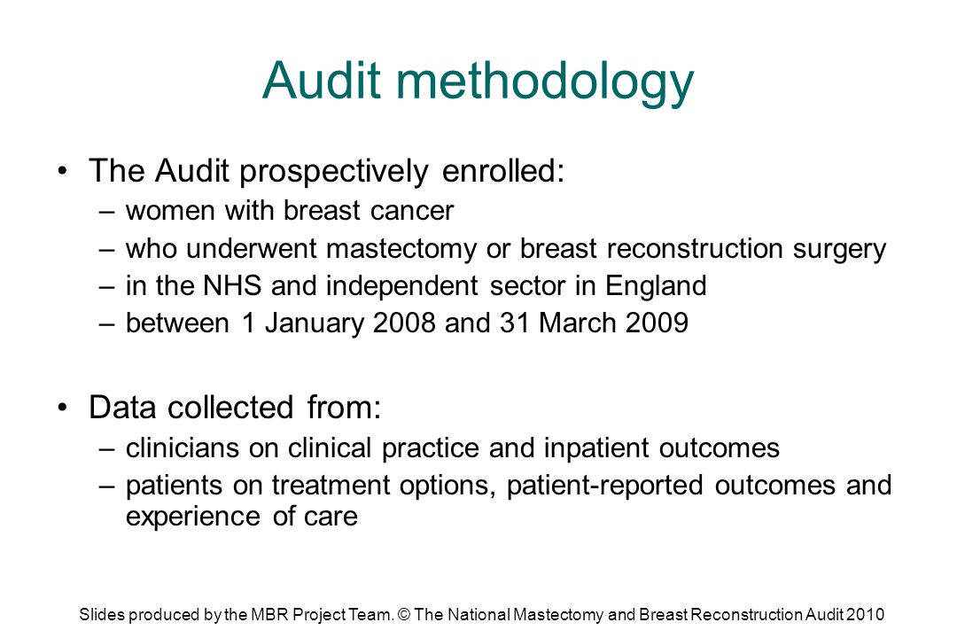 Audit participation – clinical study 18,216 women with complete information: –16,558 treated at English NHS trusts –1,249 treated at independent hospitals –409 treated at non-English NHS trusts that also chose to participate Overall NHS case ascertainment of 81.4% More than two thirds of NHS trusts achieved over 75% case ascertainment Slides produced by the MBR Project Team.
