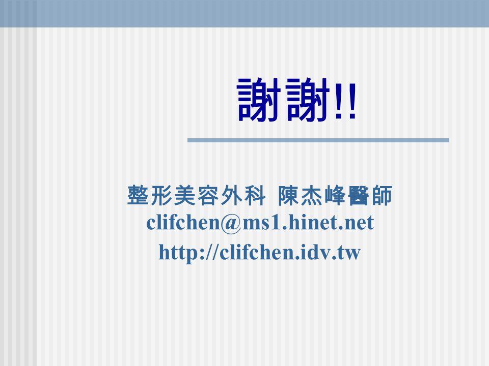 整形美容外科 陳杰峰醫師 clifchen@ms1.hinet.net http://clifchen.idv.tw 謝謝 !!