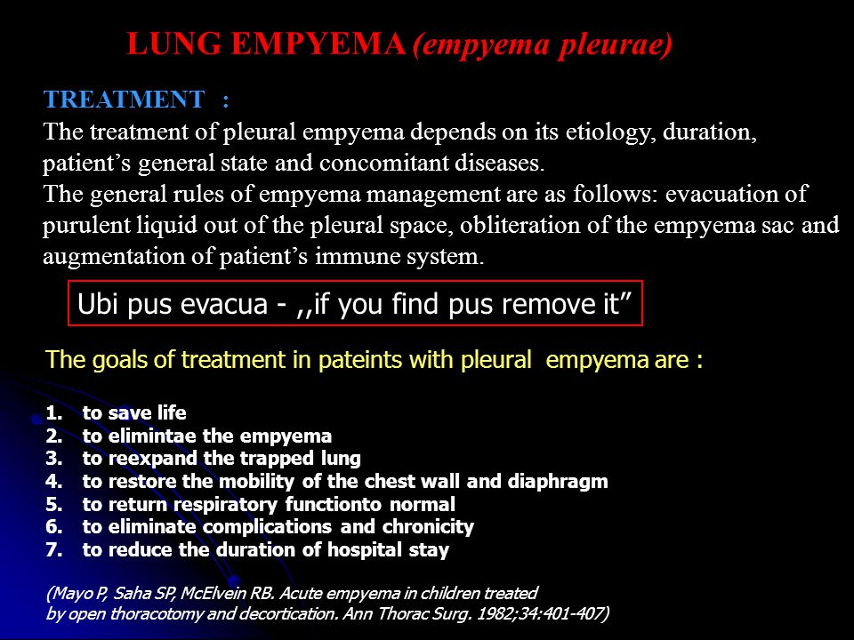 LUNG EMPYEMA (empyema pleurae) TREATMENT : The treatment of pleural empyema depends on its etiology, duration, patient's general state and concomitant