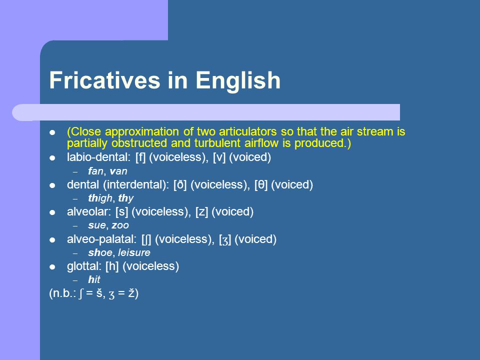 Fricatives in English (Close approximation of two articulators so that the air stream is partially obstructed and turbulent airflow is produced.) labio-dental: [f] (voiceless), [v] (voiced) – fan, van dental (interdental): [ð] (voiceless), [θ] (voiced) – thigh, thy alveolar: [s] (voiceless), [z] (voiced) – sue, zoo alveo-palatal: [ ʃ ] (voiceless), [ ʒ ] (voiced) – shoe, leisure glottal: [h] (voiceless) – hit (n.b.: ʃ = š, ʒ = ž)