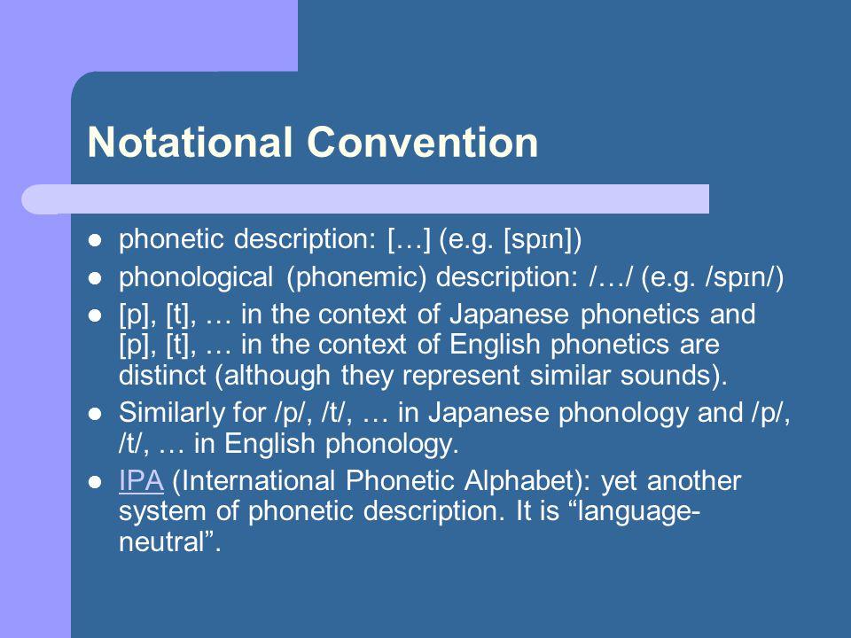Phonetics vs.Phonology pin [p h ɪ n], spin [sp ɪ n], pop [p h ɑ p] [p h ] vs.