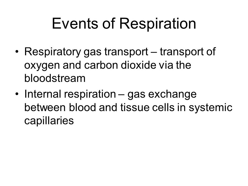 Events of Respiration Respiratory gas transport – transport of oxygen and carbon dioxide via the bloodstream Internal respiration – gas exchange betwe