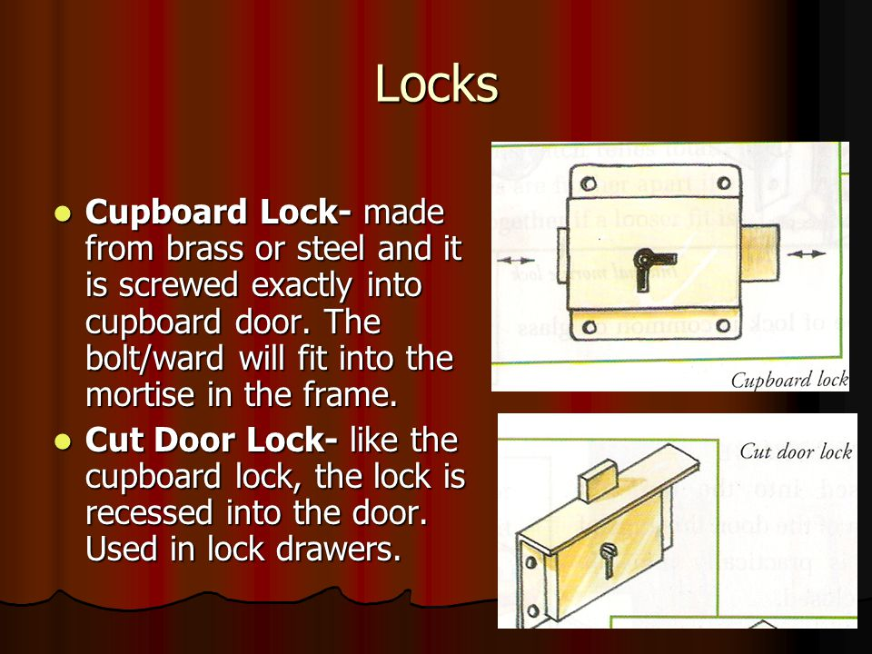 Locks Cupboard Lock- made from brass or steel and it is screwed exactly into cupboard door.