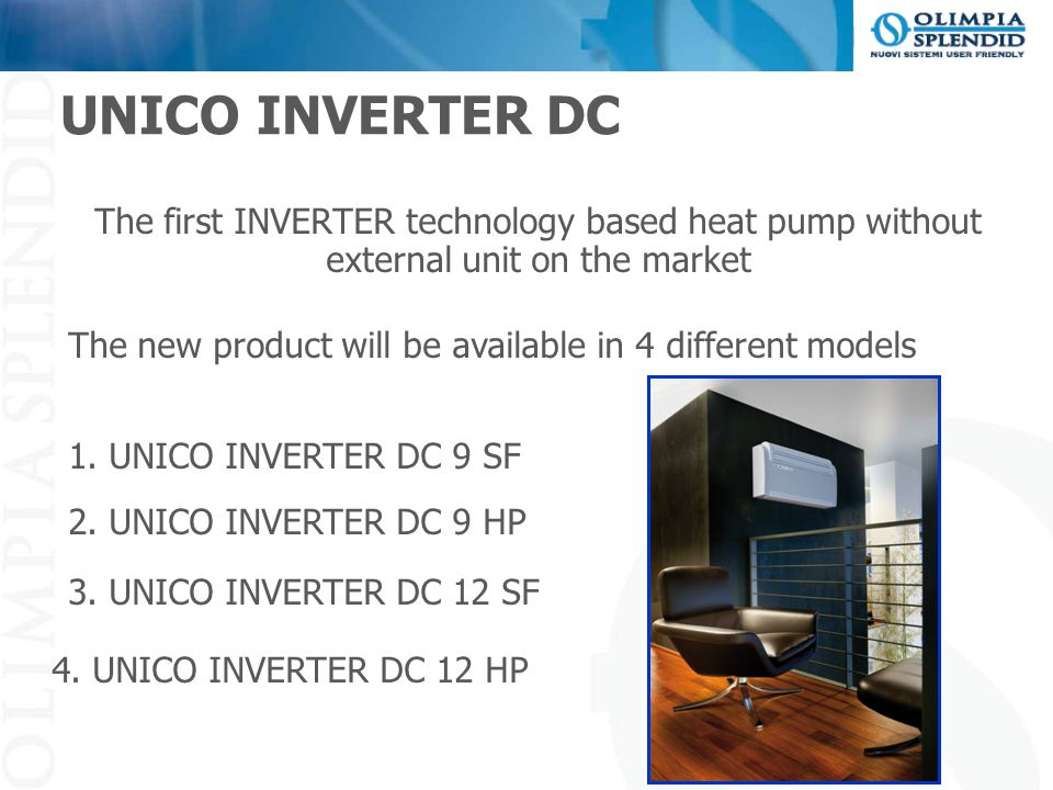 The first INVERTER technology based heat pump without external unit on the market The new product will be available in 4 different models 1. UNICO INV
