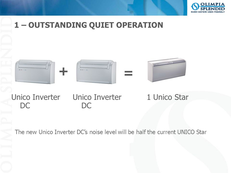 1 – OUTSTANDING QUIET OPERATION Unico Inverter DC + 1 Unico Star = The new Unico Inverter DC's noise level will be half the current UNICO Star Unico I