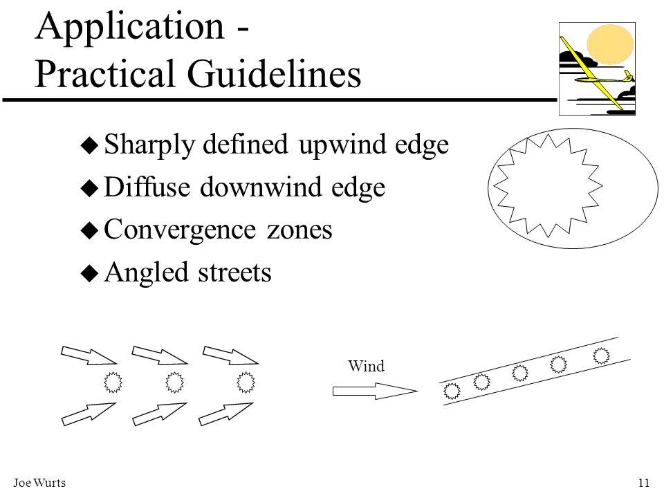 Joe Wurts11 Application - Practical Guidelines u Sharply defined upwind edge u Diffuse downwind edge u Convergence zones u Angled streets Wind