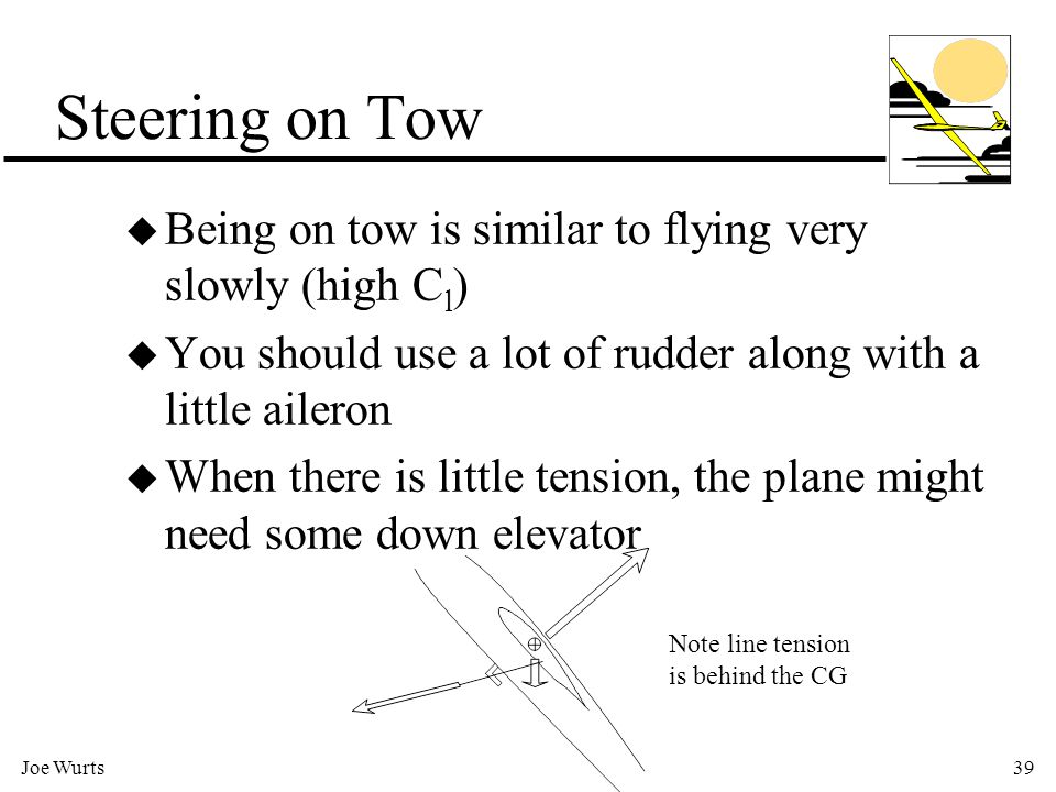 Joe Wurts39 Steering on Tow u Being on tow is similar to flying very slowly (high C l ) u You should use a lot of rudder along with a little aileron u When there is little tension, the plane might need some down elevator Note line tension is behind the CG