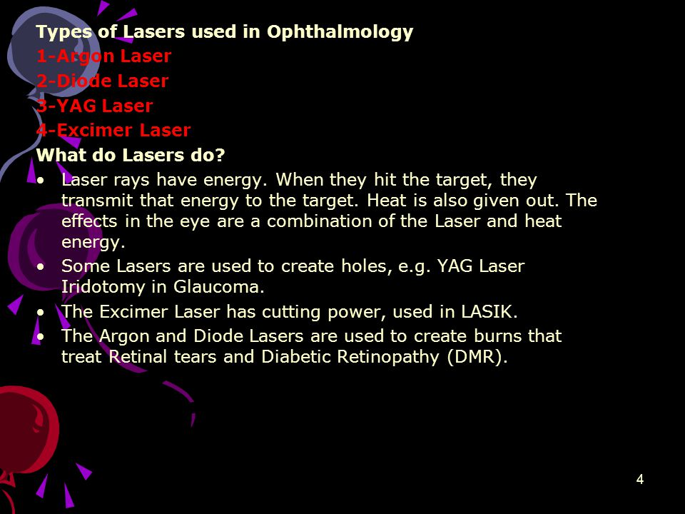 4 Types of Lasers used in Ophthalmology 1-Argon Laser 2-Diode Laser 3-YAG Laser 4-Excimer Laser What do Lasers do.