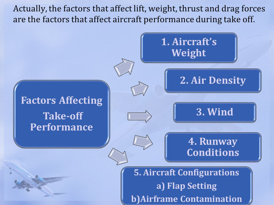 Actually, the factors that affect lift, weight, thrust and drag forces are the factors that affect aircraft performance during take off. Factors Affec