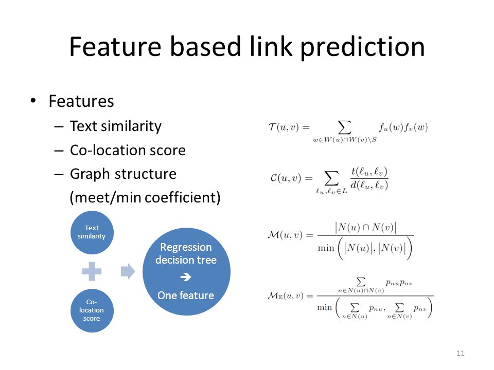 Feature based link prediction Features – Text similarity – Co-location score – Graph structure (meet/min coefficient) Text similarity Co- location sco