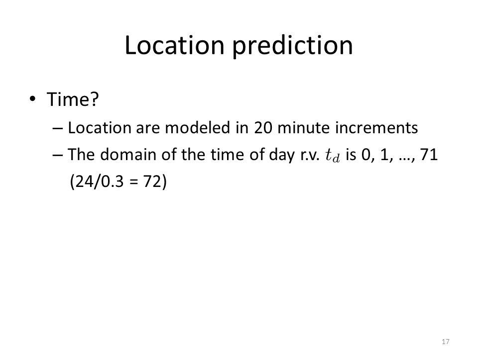 Location prediction Time.