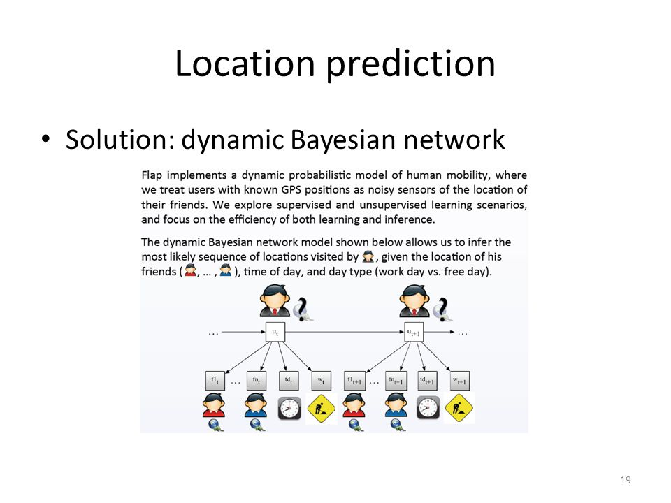 Location prediction Solution: dynamic Bayesian network 19
