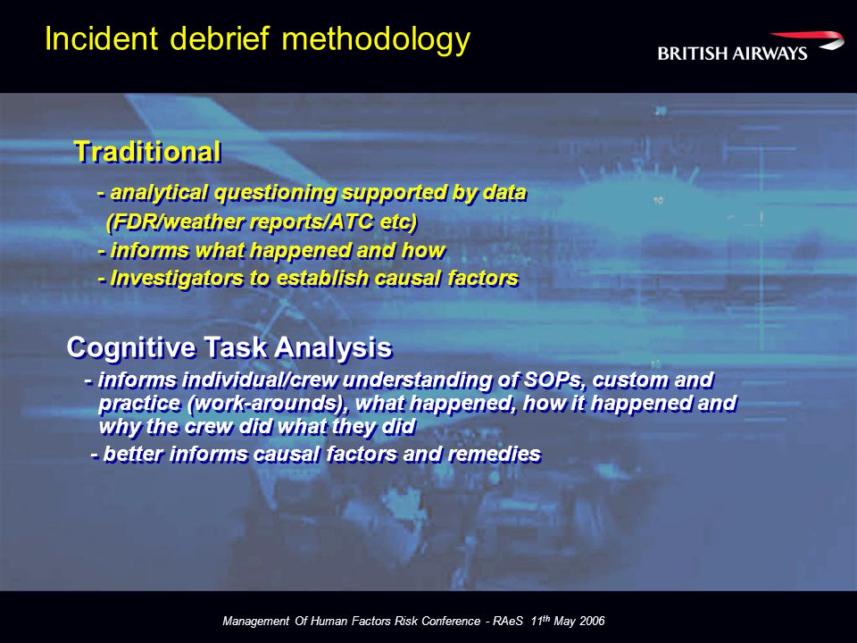 Management Of Human Factors Risk Conference - RAeS 11 th May 2006 Incident debrief methodology Traditional - analytical questioning supported by data (FDR/weather reports/ATC etc) - informs what happened and how - Investigators to establish causal factors Traditional - analytical questioning supported by data (FDR/weather reports/ATC etc) - informs what happened and how - Investigators to establish causal factors Cognitive Task Analysis - informs individual/crew understanding of SOPs, custom and practice (work-arounds), what happened, how it happened and why the crew did what they did - better informs causal factors and remedies Cognitive Task Analysis - informs individual/crew understanding of SOPs, custom and practice (work-arounds), what happened, how it happened and why the crew did what they did - better informs causal factors and remedies