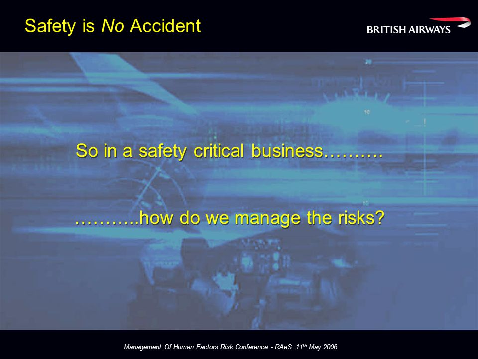 Management Of Human Factors Risk Conference - RAeS 11 th May 2006 Procedures Designed around TEM Easily Understood Consistently Applied Acknowledge what experts do