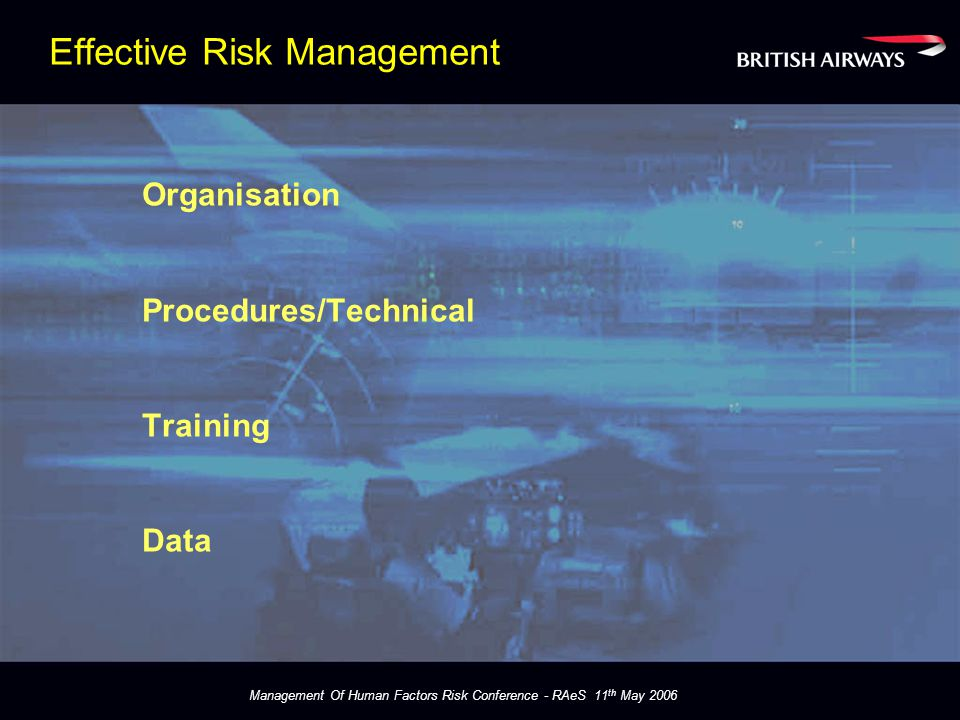 Management Of Human Factors Risk Conference - RAeS 11 th May 2006 Training Blend of Technical and Human Factors HF Common Language Trainer Skills Operational Rigour